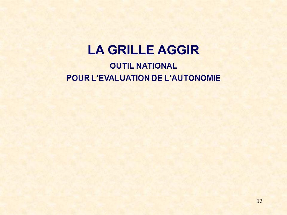 LA GRILLE AGGIR OUTIL NATIONAL POUR L'EVALUATION DE L'AUTONOMIE