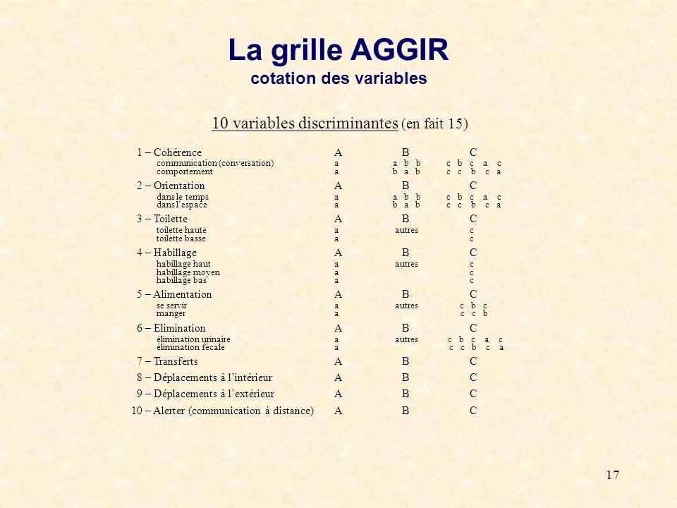 La grille AGGIR cotation des variables