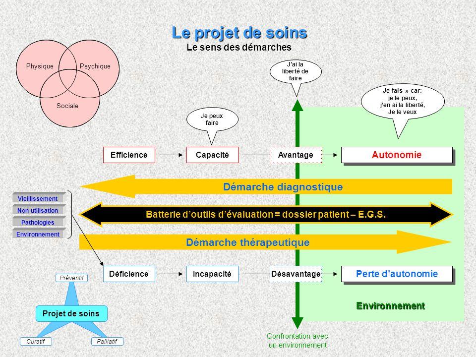 Le projet de soins Démarche diagnostique Démarche thérapeutique