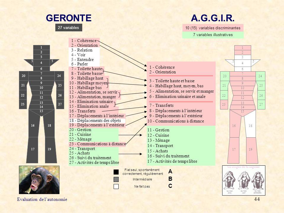 GERONTE A.G.G.I.R. A B C Evaluation de l'autonomie 1 - Cohérence