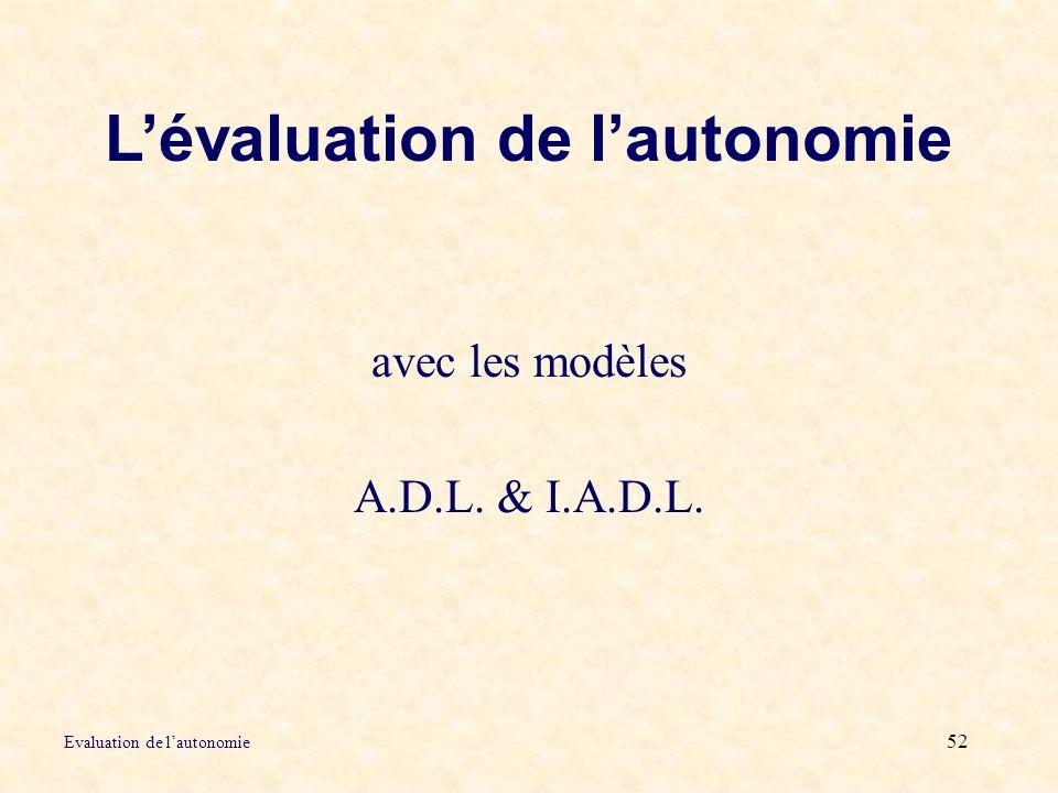 L'évaluation de l'autonomie