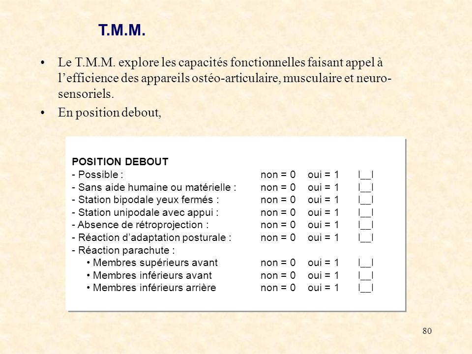T.M.M. Le T.M.M. explore les capacités fonctionnelles faisant appel à l'efficience des appareils ostéo-articulaire, musculaire et neuro-sensoriels.