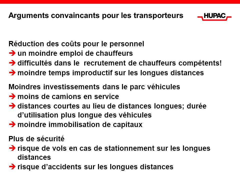 Arguments convaincants pour les transporteurs