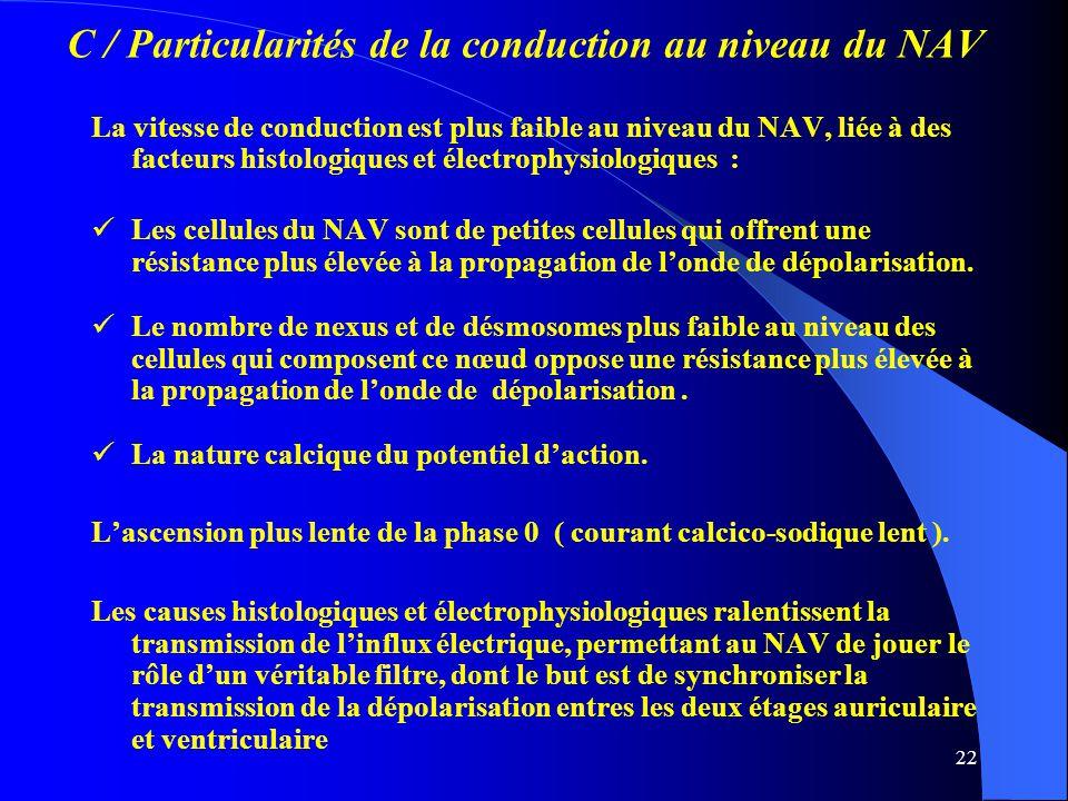 C / Particularités de la conduction au niveau du NAV