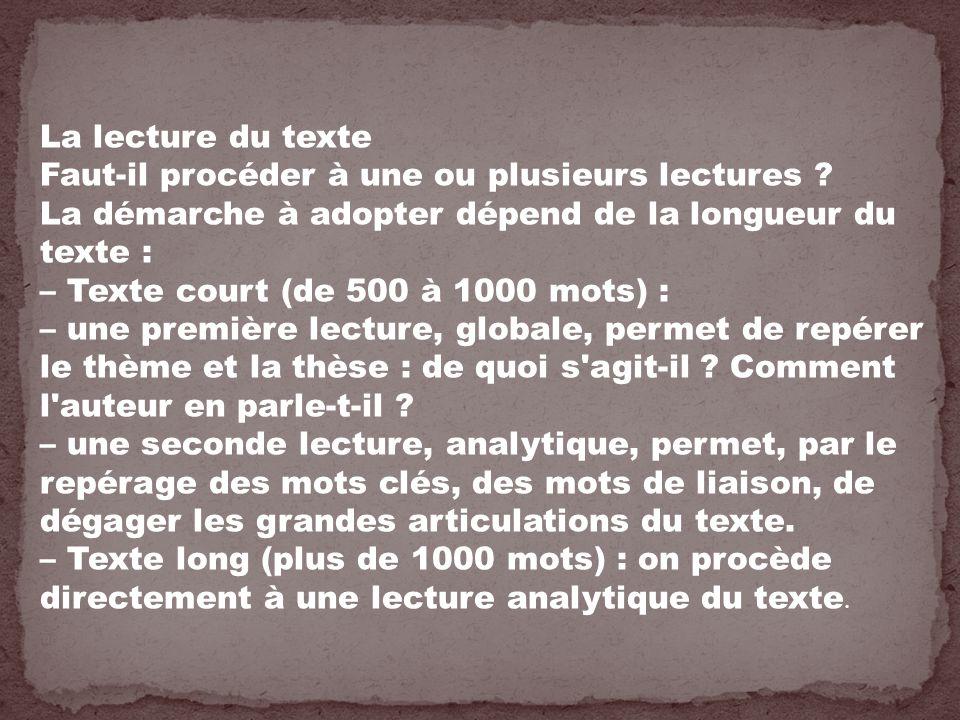 La lecture du texte Faut-il procéder à une ou plusieurs lectures La démarche à adopter dépend de la longueur du texte :