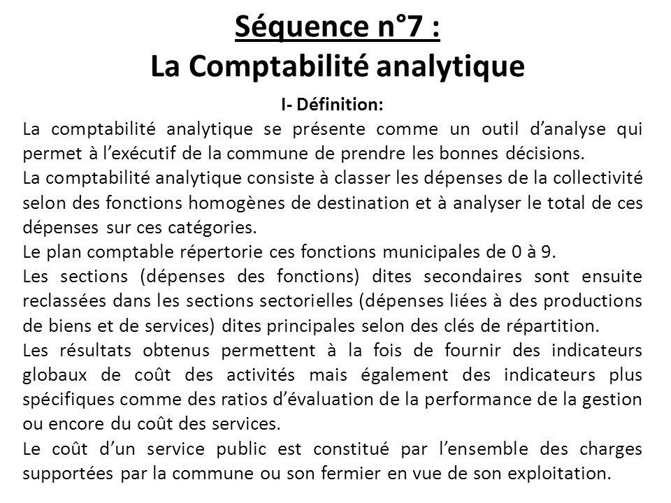 Séquence n°7 : La Comptabilité analytique