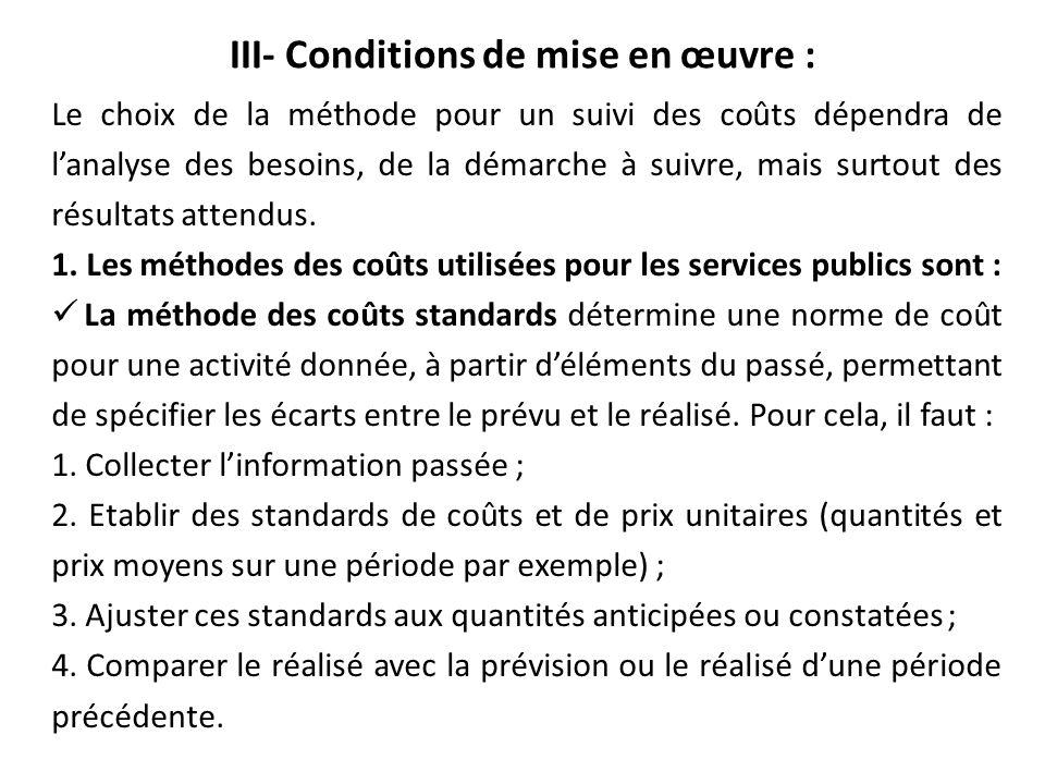III- Conditions de mise en œuvre :