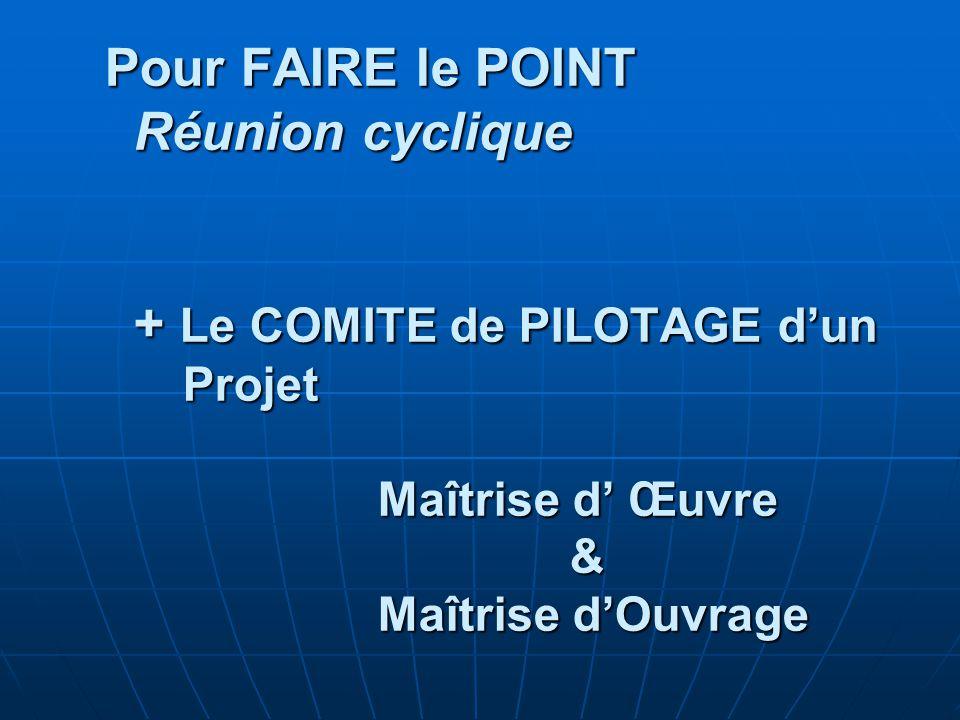 Pour FAIRE le POINT Réunion cyclique + Le COMITE de PILOTAGE d'un Projet Maîtrise d' Œuvre & Maîtrise d'Ouvrage