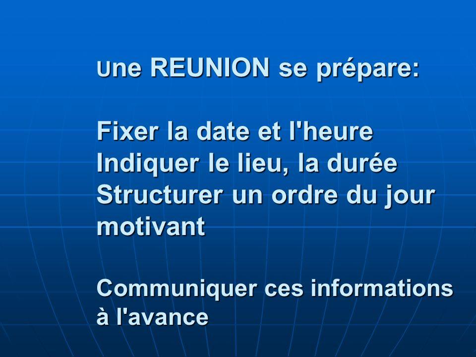 Une REUNION se prépare: Fixer la date et l heure Indiquer le lieu, la durée Structurer un ordre du jour motivant Communiquer ces informations à l avance