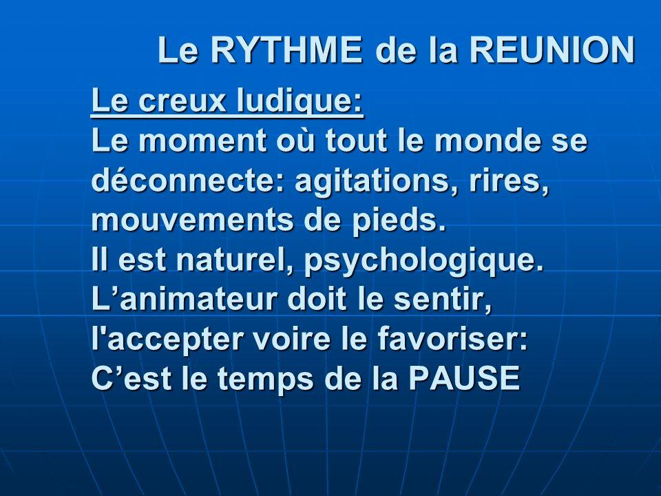 Le RYTHME de la REUNION Le creux ludique: Le moment où tout le monde se déconnecte: agitations, rires, mouvements de pieds.