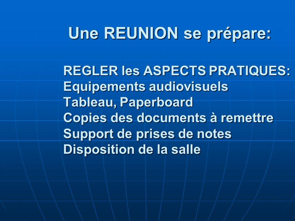Une REUNION se prépare: REGLER les ASPECTS PRATIQUES: Equipements audiovisuels Tableau, Paperboard Copies des documents à remettre Support de prises de notes Disposition de la salle