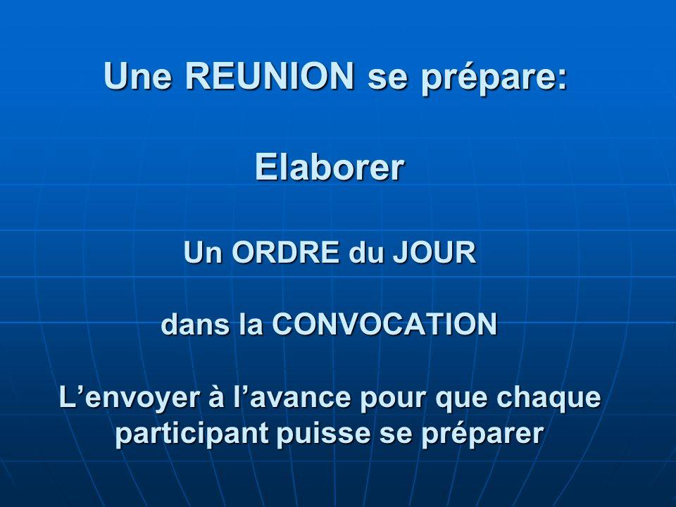 Une REUNION se prépare: Elaborer Un ORDRE du JOUR dans la CONVOCATION L'envoyer à l'avance pour que chaque participant puisse se préparer