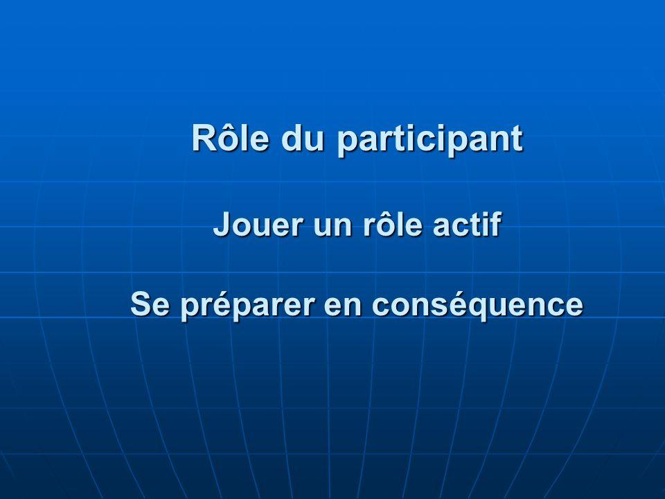 Rôle du participant Jouer un rôle actif Se préparer en conséquence