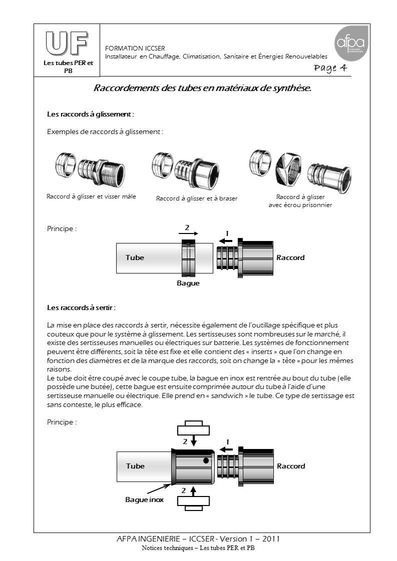 Raccordements des tubes en matériaux de synthèse.
