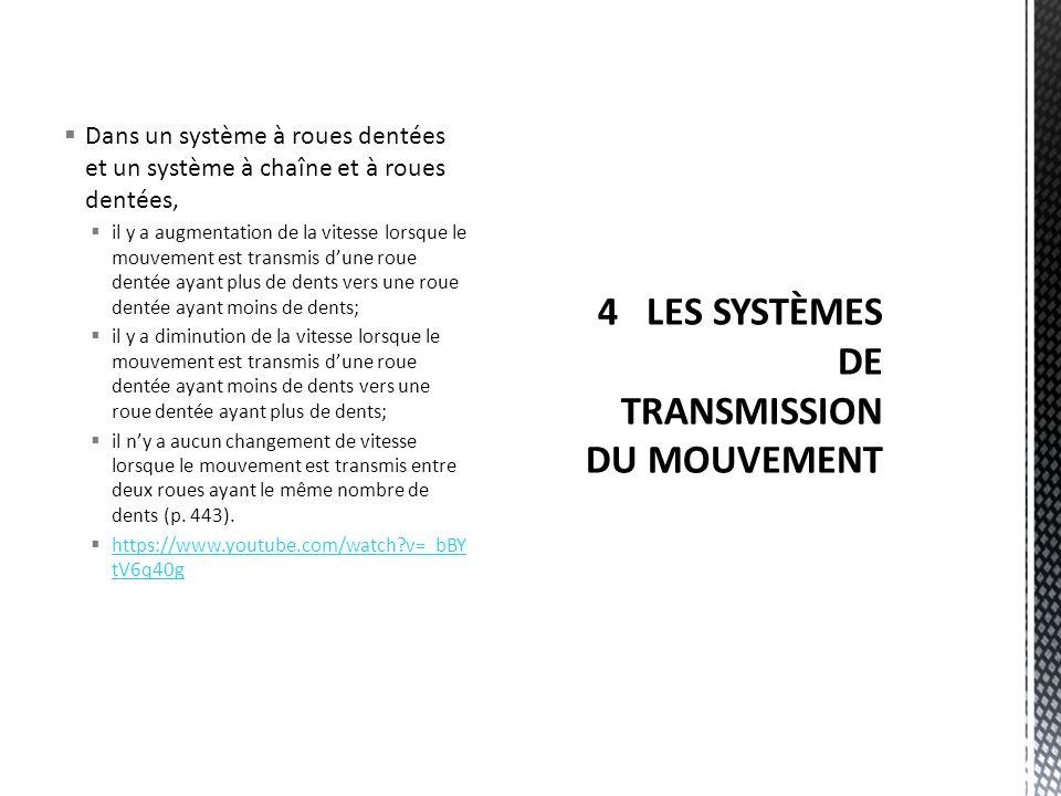 4 LES SYSTÈMES DE TRANSMISSION DU MOUVEMENT