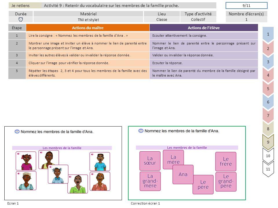 Activité 9 : Retenir du vocabulaire sur les membres de la famille proche.