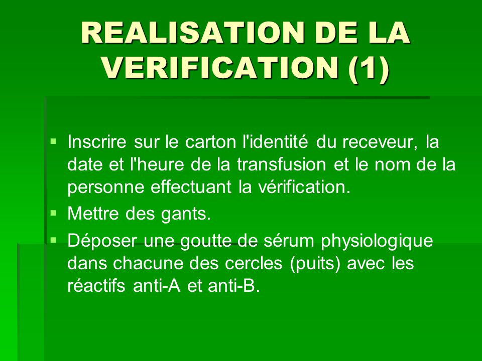 REALISATION DE LA VERIFICATION (1)