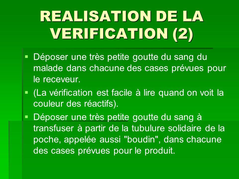 REALISATION DE LA VERIFICATION (2)