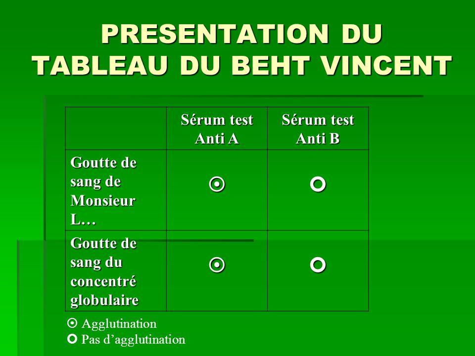 PRESENTATION DU TABLEAU DU BEHT VINCENT