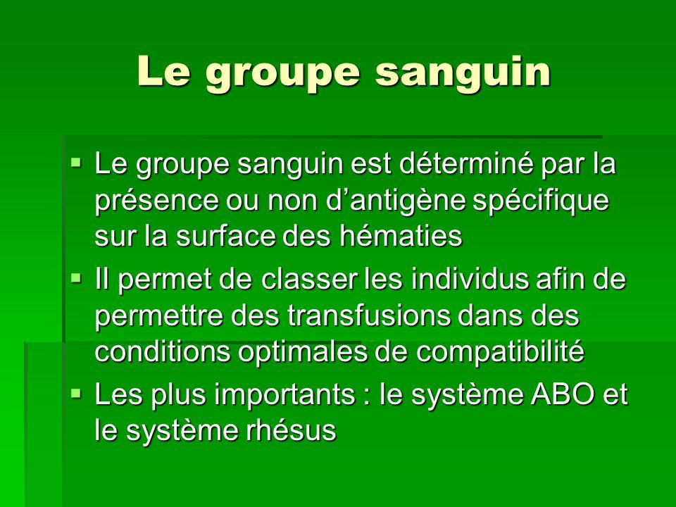 Le groupe sanguin Le groupe sanguin est déterminé par la présence ou non d'antigène spécifique sur la surface des hématies.