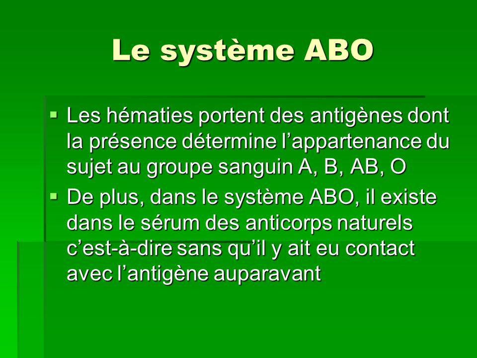 Le système ABO Les hématies portent des antigènes dont la présence détermine l'appartenance du sujet au groupe sanguin A, B, AB, O.