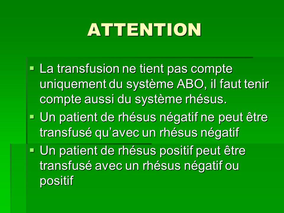 ATTENTION La transfusion ne tient pas compte uniquement du système ABO, il faut tenir compte aussi du système rhésus.