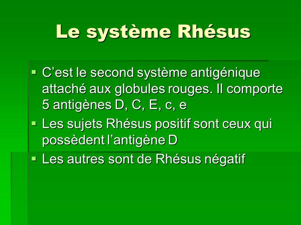 Le système Rhésus C'est le second système antigénique attaché aux globules rouges. Il comporte 5 antigènes D, C, E, c, e.