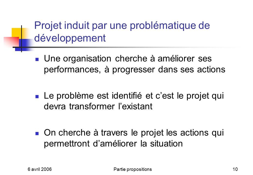 Projet induit par une problématique de développement