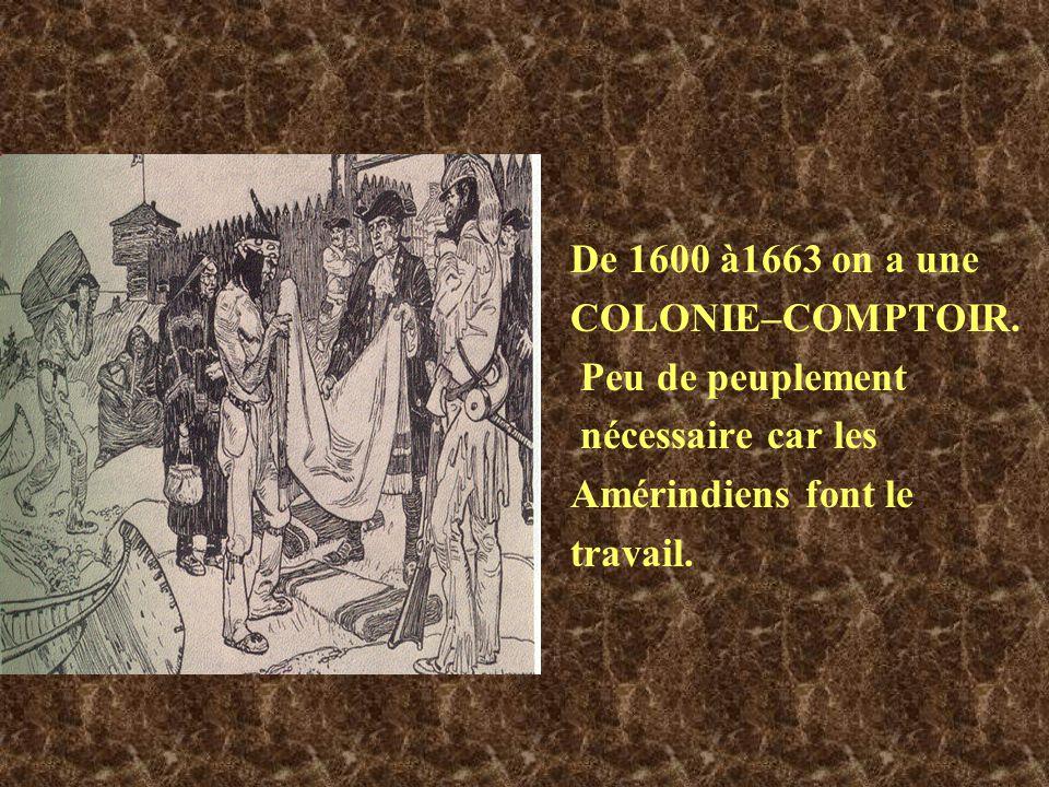 De 1600 à1663 on a une COLONIE–COMPTOIR. Peu de peuplement. nécessaire car les. Amérindiens font le.