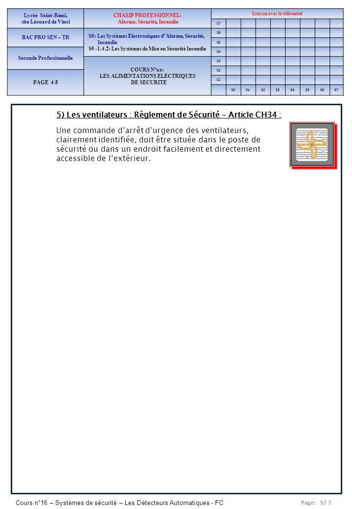 5) Les ventilateurs : Règlement de Sécurité - Article CH34 :