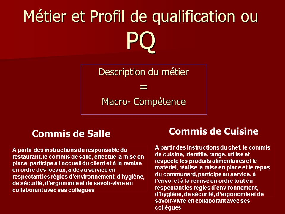 Enseignement sp cialis ppt video online t l charger - Competence commis de cuisine ...