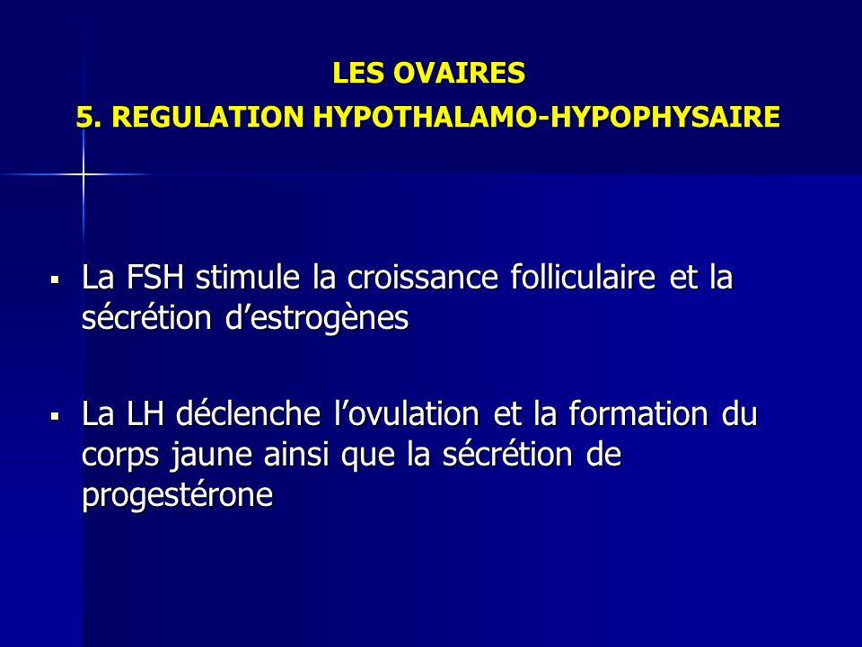 LES OVAIRES 5. REGULATION HYPOTHALAMO-HYPOPHYSAIRE