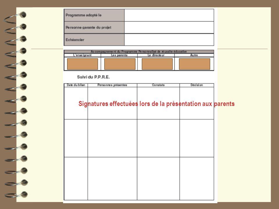 Signatures effectuées lors de la présentation aux parents