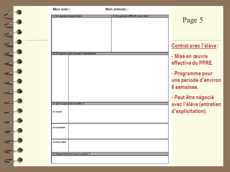 Page 5 Contrat avec l'élève : - Mise en œuvre effective du PPRE.
