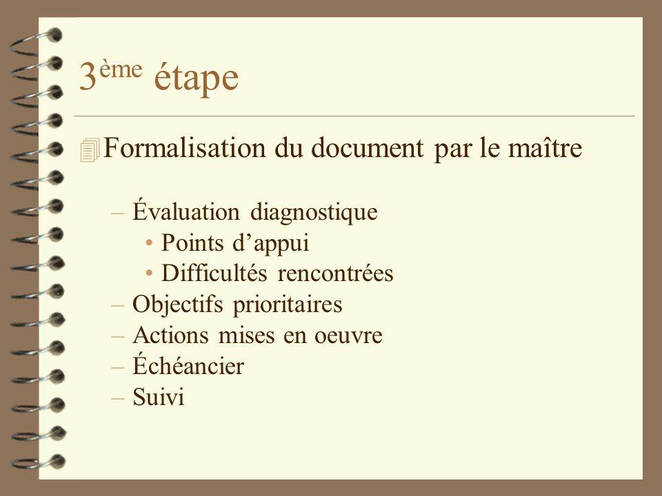 3ème étape Formalisation du document par le maître
