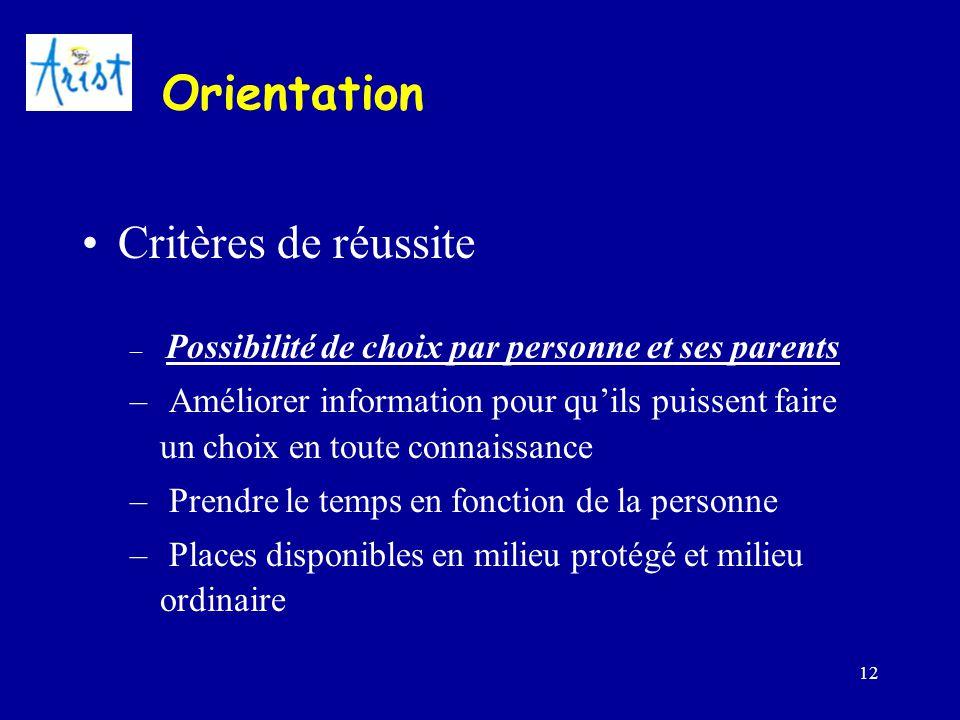 Orientation Critères de réussite
