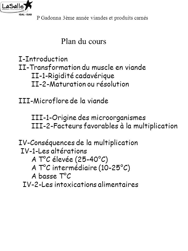 Plan du cours I-Introduction II-Transformation du muscle en viande