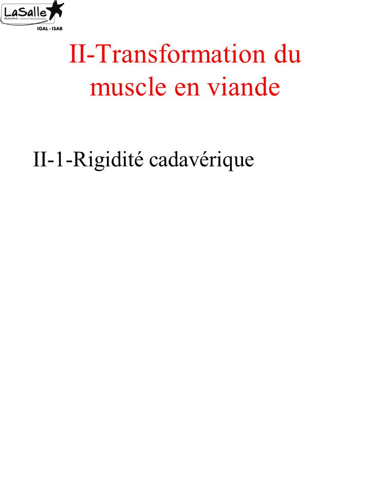 II-Transformation du muscle en viande