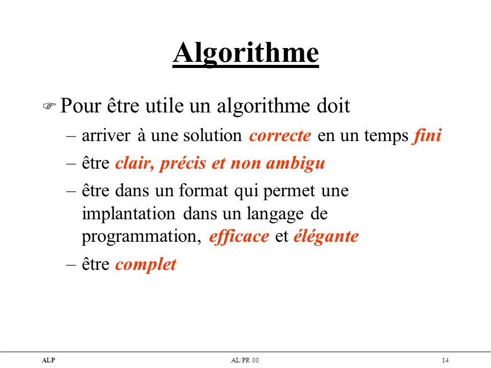 Algorithme Pour être utile un algorithme doit