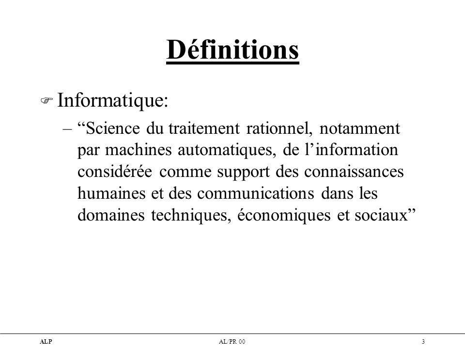 Définitions Informatique: