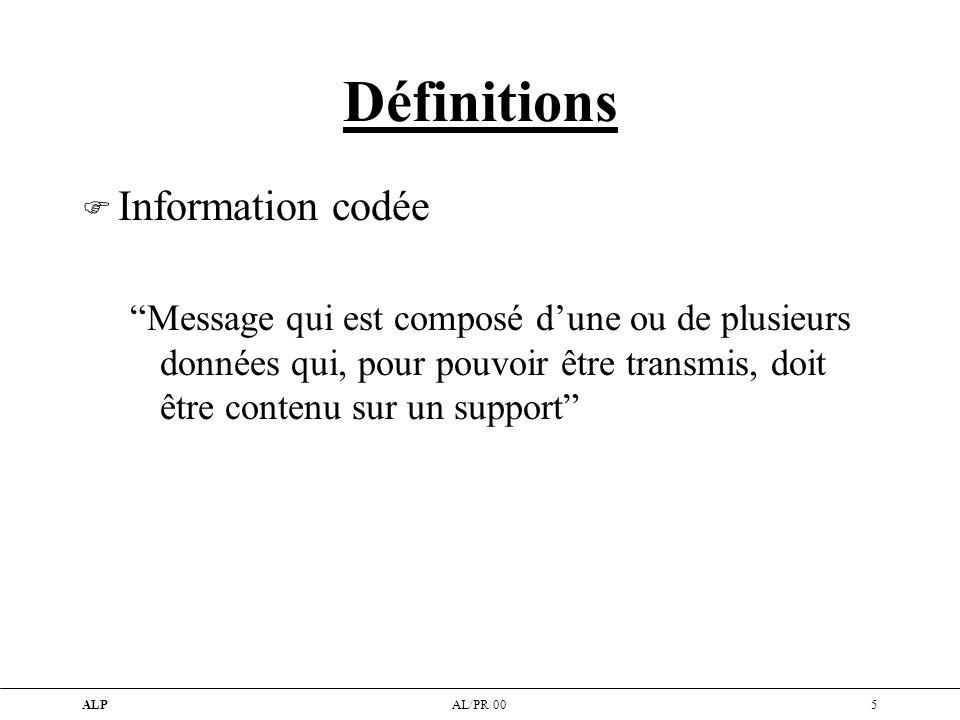 Définitions Information codée