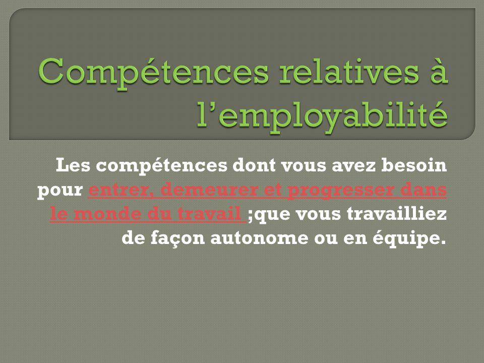 Compétences relatives à l'employabilité