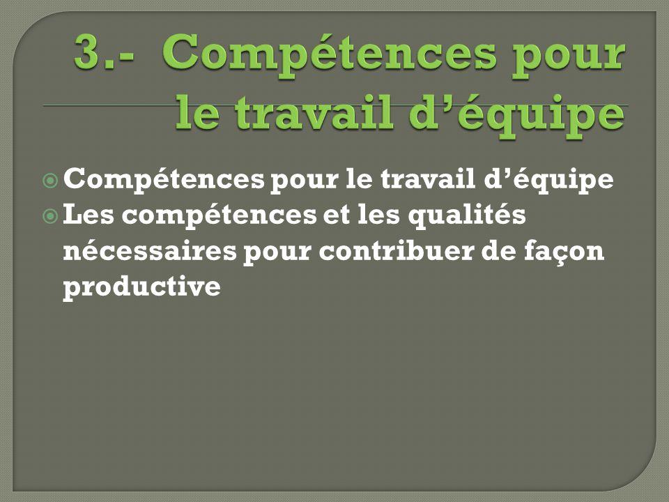 3.- Compétences pour le travail d'équipe