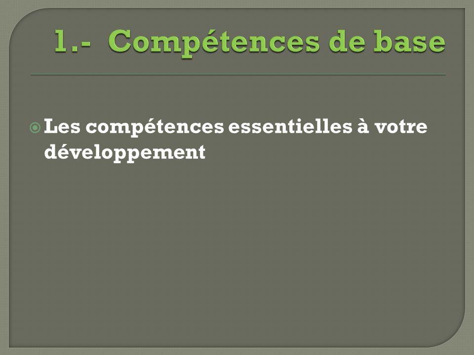 1.- Compétences de base Les compétences essentielles à votre développement