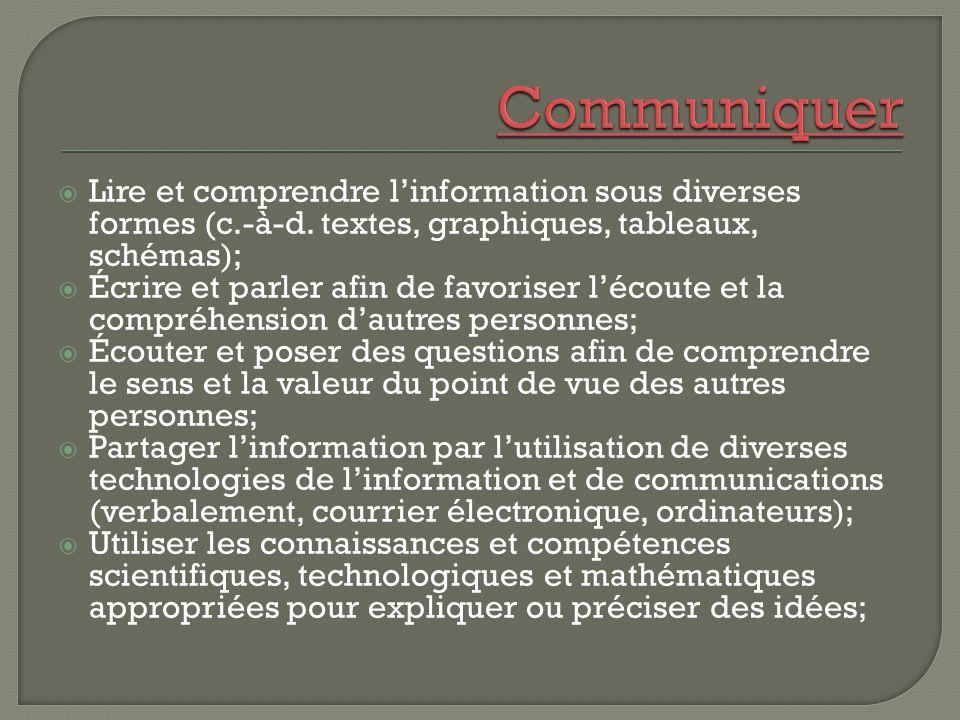 Communiquer Lire et comprendre l'information sous diverses formes (c.-à-d. textes, graphiques, tableaux, schémas);