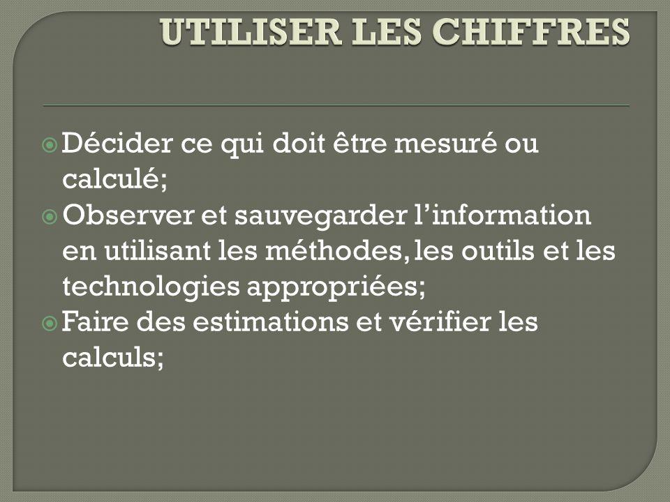 UTILISER LES CHIFFRES Décider ce qui doit être mesuré ou calculé;