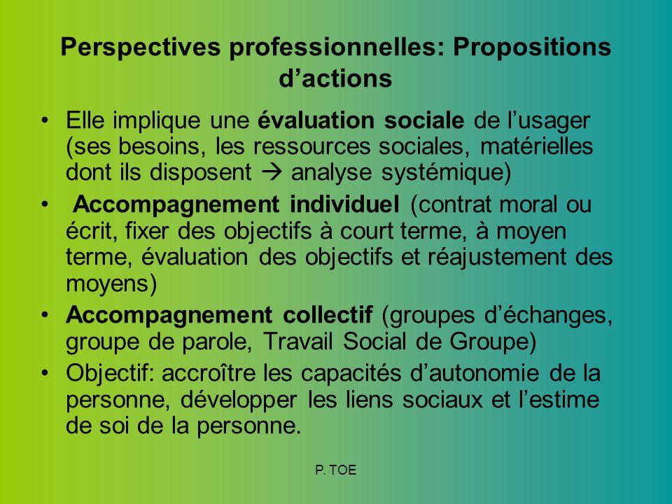Perspectives professionnelles: Propositions d'actions