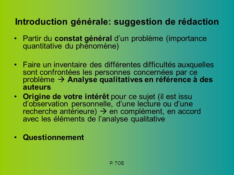 Introduction générale: suggestion de rédaction