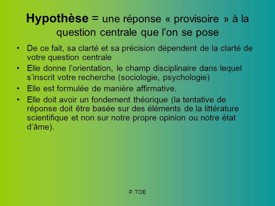 Hypothèse = une réponse « provisoire » à la question centrale que l'on se pose