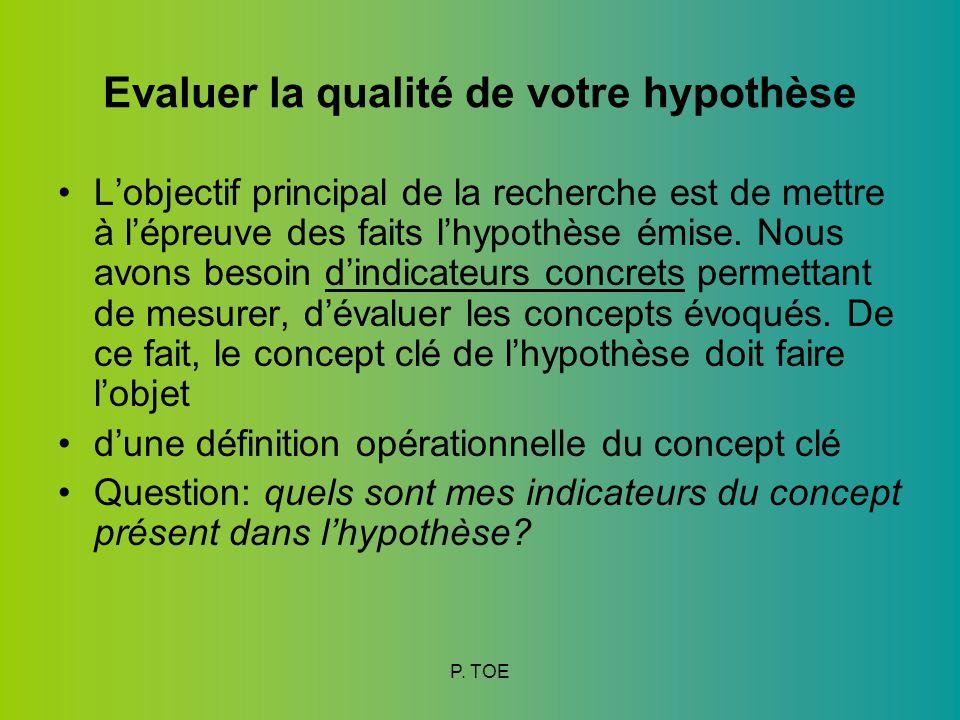 Evaluer la qualité de votre hypothèse